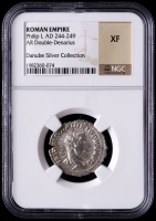 Philip I AD 244-249 Roman Empire AR Double Denarius Ancient Roman Silver Coin - Danube Silver Collection (NGC XF) at PristineAuction.com