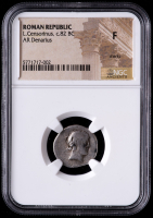 L. Censorinus c.82 B.C. Roman Republic AR Denarius Ancient Roman Silver Coin (NGC F) at PristineAuction.com
