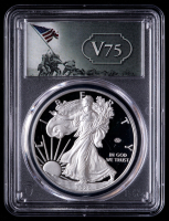 2020-W American Silver Eagle $1 One Dollar Coin, V75 Privy - WWII 75th Label, First Day of Issue (PCGS PR70 Deep Cameo) at PristineAuction.com