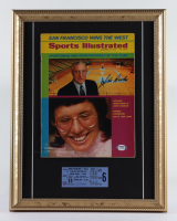 "John Wooden Signed 14x18 Custom Framed ""Sports Illustrated"" Magazine Display with UCLA Game Ticket (PSA COA) (See Description) at PristineAuction.com"