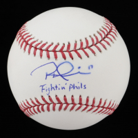 "Rhys Hoskins Signed OML Baseball Inscribed ""Fightin' Phils"" (Beckett COA) at PristineAuction.com"