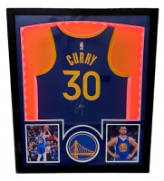 Stephen Curry Signed 32x41 Custom Framed Jersey Display with LED Lights (Fanatics Hologram) at PristineAuction.com