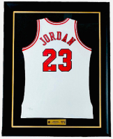 "Michael Jordan Signed Bulls 37.5x45 Custom Framed LE Jersey Inscribed ""11/1/94"" (UDA COA) at PristineAuction.com"