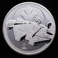 2021 Niue 1 oz Silver Star Wars Millennium Falcon $2 Coin at PristineAuction.com