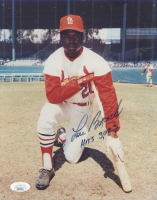 "Lou Brock Signed Cardinals 8x10 Photo Inscribed ""Hits 3,023"" (JSA COA) at PristineAuction.com"