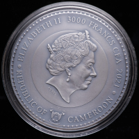 2021 Cameroon 3 oz Silver Saturn, Planets and Gods 3,000 Francs Coin at PristineAuction.com