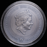 2021 Cameroon 3 oz Silver Neptune, Planets and Gods 3,000 Francs Coin at PristineAuction.com