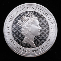 2021 St. Helena 1 oz Silver Queen's Virtues Victory £1 Coin at PristineAuction.com