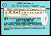 Roberto Alomar Signed 1988 Donruss #34 RC (JSA COA) at PristineAuction.com