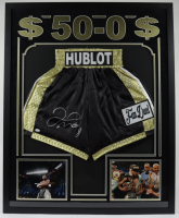 Floyd Mayweather Jr. Signed 34x42 Custom Framed Boxing Trunks Display (JSA COA) at PristineAuction.com