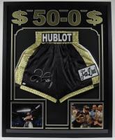 Floyd Mayweather Jr. Signed 34x42 Custom Framed Boxing Trunks Display (JSA COA) at PristineAuction.com