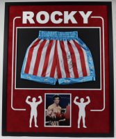 Sylvester Stallone Signed 34x42 Custom Framed Boxing Trunks Display (Authentic Signings COA) at PristineAuction.com