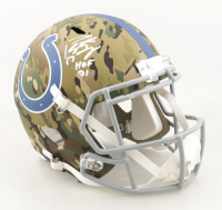 "Peyton Manning Signed Colts Full-Size Camo Alternate Speed Helmet Inscribed ""HOF 21"" (Fanatics Hologram) at PristineAuction.com"
