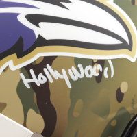 """Marquise Brown Signed Ravens Full-Size Camo Alternate Speed Helmet Inscribed """"Speed Killer"""" & """"HollyWood"""" (JSA COA) (See Description) at PristineAuction.com"""