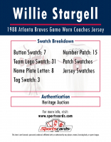 WILLIE STARGELL 1988 BRAVES GAME WORN COACHES JERSEY MYSTERY SWATCH BOX! at PristineAuction.com