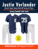 JUSTIN VERLANDER TIGERS GAME WORN BP JERSEY & PANTS MYSTERY SWATCH BOX! at PristineAuction.com