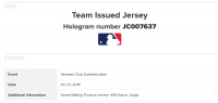 AARON JUDGE 2016 NY YANKEES GAME WORN BP JERSEY MYSTERY SWATCH BOX! at PristineAuction.com