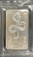 "10 Troy Oz .999 Fine Silver ""2013 Year of the Snake"" Bullion Bar at PristineAuction.com"