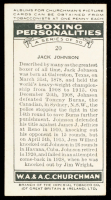 Jack Johnson 1938 Churchman's Cigarettes #20 at PristineAuction.com