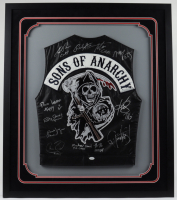 """Sons of Anarchy"" 34x37 Custom Framed Vest Cast-Signed by (9) With Charlie Hunnam, Rusty Coones, Jacob Vargas, Christopher Reed With Multiple Inscriptions (JSA LOA) at PristineAuction.com"