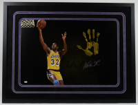 Magic Johnson Signed Lakers 32x42 Custom Framed Photo Display with Handprint (JSA LOA) at PristineAuction.com