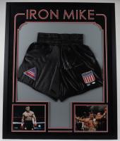 Mike Tyson Signed 34x42 Custom Framed Boxing Trunks Display (Fiterman Sports Hologram & JSA Hologram) at PristineAuction.com