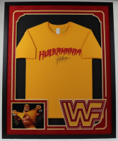 Hulk Hogan Signed Hulkamania 34x42 Custom Framed Shirt Display (JSA COA) (See Description) at PristineAuction.com