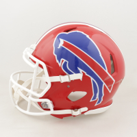 Jim Kelly, Thurman Thomas & Andre Reed Signed Bills Full-Size Authentic On-Field Speed Helmet (JSA COA) at PristineAuction.com
