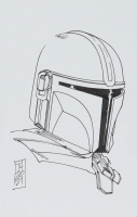 "Tom Hodges - The Mandalorian / Din Djarin - ""Star Wars"" - Signed ORIGINAL 5.5"" x 8.5"" Drawing on Paper (1/1) at PristineAuction.com"