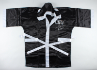 "Hasim Rahman Signed Title Boxing Robe Inscribed ""Rock"" (Schwartz COA) at PristineAuction.com"