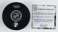 """Borje Salming Signed Maple Leafs Logo Hockey Puck Inscribed """"HOF 96"""" with Display Case (Schwartz COA) at PristineAuction.com"""