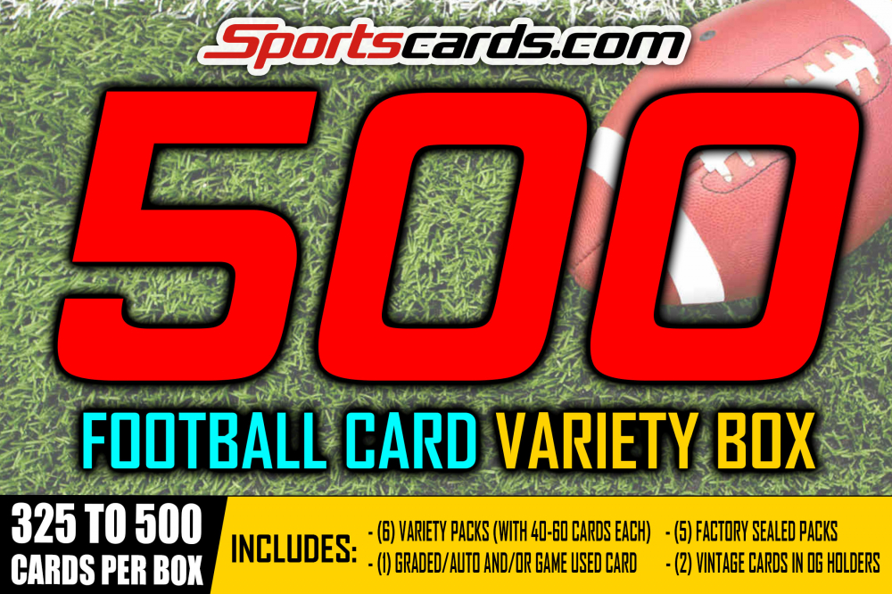 """""""FOOTBALL 500 VARIETY MYSTERY BOX"""" 325 to 500 CARDS PER BOX! at PristineAuction.com"""