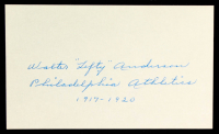 "Walter ""Lefty"" Anderson Signed 3x5 Cut Inscribed ""Philadelphia Athletics 1917 - 1920"" (PSA COA) at PristineAuction.com"