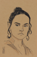 """Tom Hodges - Rey - """"Star Wars"""" - Signed ORIGINAL 5.5"""" x 8.5"""" Drawing on Paper (1/1) at PristineAuction.com"""