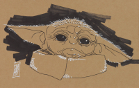 """Tom Hodges - Grogu / The Child - Star Wars """"The Mandalorian"""" - Signed ORIGINAL 5.5"""" x 8.5"""" Drawing on Paper (1/1) at PristineAuction.com"""
