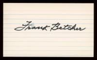 Frank Betcher Signed 3x5 Cut (PSA COA) at PristineAuction.com
