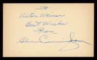 """Glenn Cunningham Signed 3x5 Cut Inscribed """"Best Wishes From"""" (PSA COA) at PristineAuction.com"""