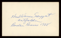 "Harl Maggert Signed 3x5 Cut Inscribed ""Boston Braves 1938"" (JSA Hologram) at PristineAuction.com"