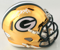 Davante Adams Signed Packers Chrome Speed Mini Helmet (Beckett COA) at PristineAuction.com