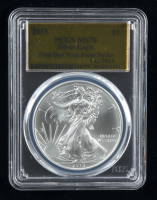 2015 American Silver Eagle $1 One Dollar Coin - First Day West Point Strike - Gold Foil Label (PCGS MS70) at PristineAuction.com