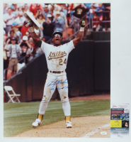 "Rickey Henderson Signed Athletics 16x20 Photo Inscribed ""The Man of Steel"" (JSA COA) at PristineAuction.com"
