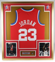 Michael Jordan Bulls 32x36 Custom Framed Jersey Display with All-Star Weekend Pin (See Description) at PristineAuction.com