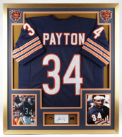 Walter Payton Signed 32x36 Custom Framed Cut Display with (2) Vintage Payton Pins (PSA Encapsulated) at PristineAuction.com