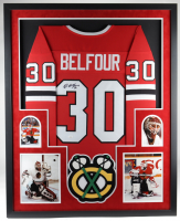 Ed Belfour Signed 34x42 Custom Framed Jersey Display (JSA COA) (See Description) at PristineAuction.com