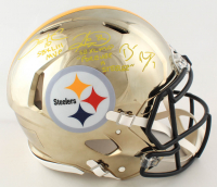 Ben Roethlisberger, Hines Ward, & Santonio Holmes Signed Steelers Full-Size Authentic On-Field Chrome Speed Helmet with Multiple Inscriptions (Beckett COA & Fanatics Hologram) at PristineAuction.com