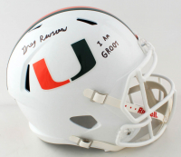 "Gregory Rousseau Signed Miami Hurricanes Full-Size Speed Helmet Inscribed ""I AM GROOT"" (JSA COA) at PristineAuction.com"