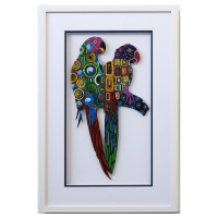 """Patricia Govezensky Signed """"Two Parrots XVI"""" 25x17 Custom Framed Original Painting on Laser Cut Steel at PristineAuction.com"""
