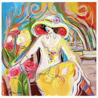 "Isaac Maimon Signed ""Rose Garden "" 22x22 Original Acrylic Painting on Canvas at PristineAuction.com"