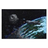 "Trevor Mezak Signed ""Millennium Falcon"" 36x24 Original Acrylic Painting on Gallery Wrapped Canvas at PristineAuction.com"