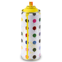 "Mr. Brainwash Signed ""Hirst Dots (Yellow)"" Limited Edition Hand Painted Spray Can #125/200 with Thumbprint at PristineAuction.com"